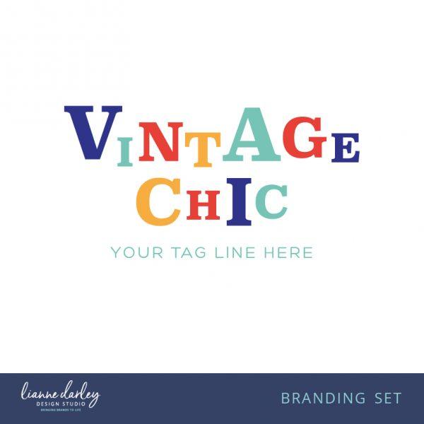 Retro Vintage Bright Pre-Made Logo Branding set